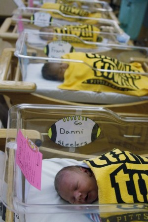 hosiptal is swaddling all baby newborns in Steelers Terrible Towels.